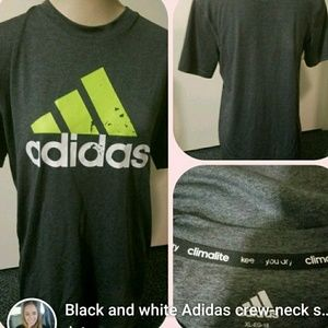 black and white Adidas crew-neck shirt